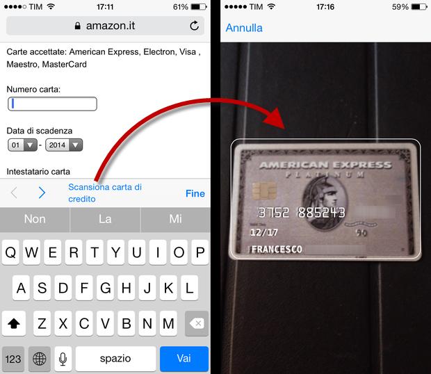 iOS 8 Scansione carta di credito