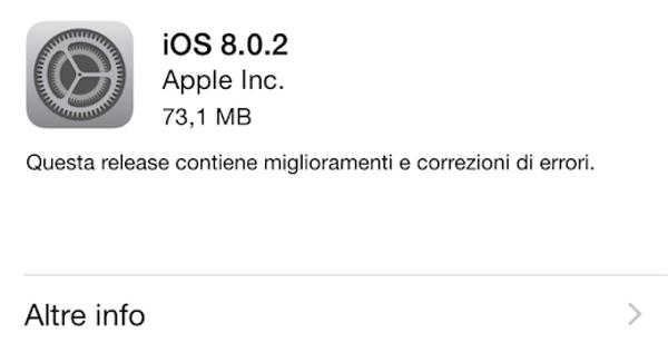 iOS 8.0.2 ha un peso di 73,1 MB su iPhone