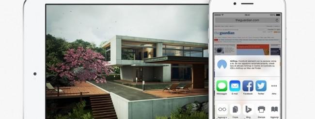 iOS 8 su iPad e iPhone