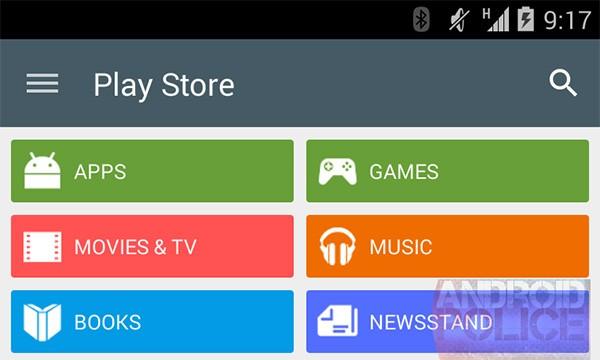 """Il nuovo menu dell'applicazione Play Store, caratterizzato da pulsanti con sfondo """"flat"""""""