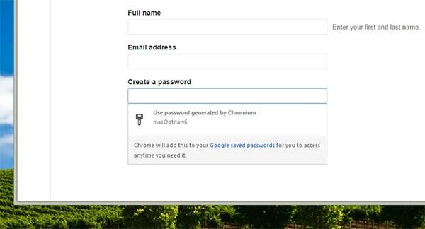 Chrome: la finestra per la creazione automatica della password