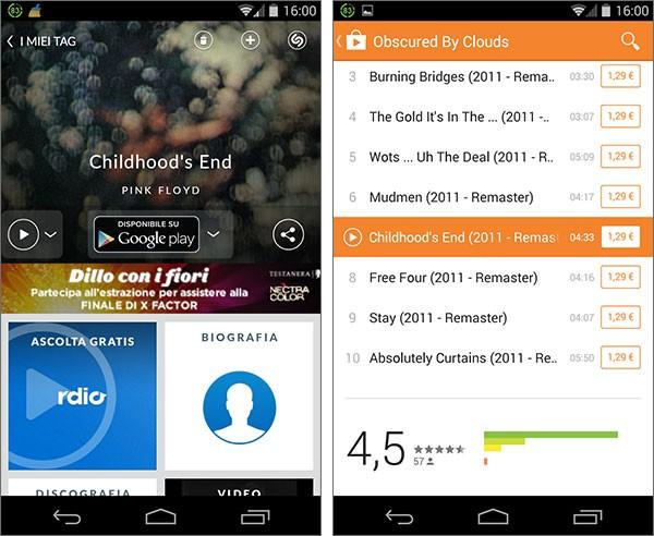Da oggi la versione Android di Shazam permette di acquistare i brani musicali riconosciuti direttamente sulla piattaforma Google Play Music