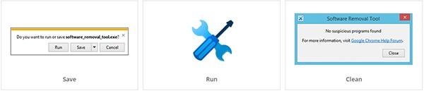 I tre step necessari per utilizzare il Software Removal Tool di Google: scaricare il software, lanciarlo e procedere alla pulizia