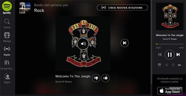 L'interfaccia del player Web di Spotify, accessibile direttamente all'interno del browser