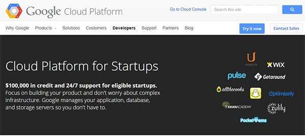 La homepage di Google Cloud Platform for Startups