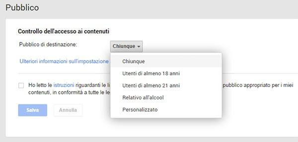 Il nuovo filtro per escludere dalla visualizzazione dei contenuti pubblicati su Google+ alcune fasce d'età