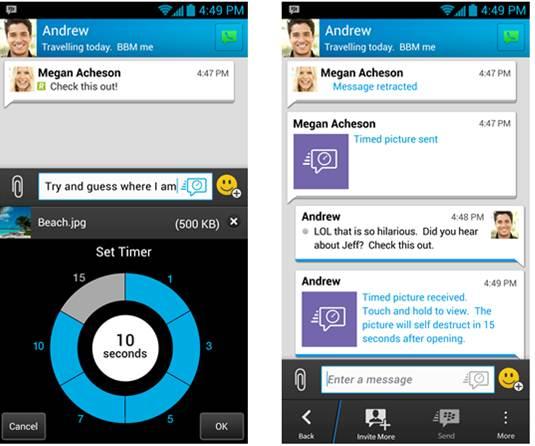 I messaggi a tempo su BlackBerry Messenger 2.5