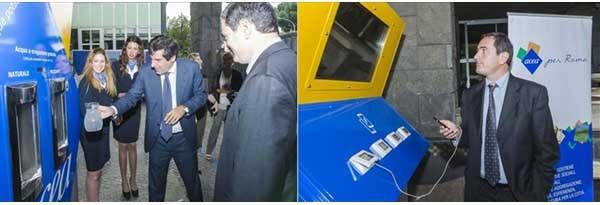La casa dell'acqua che la Acea distribuirà a Roma e provincia ha tre lati: da uno fornisce acqua, dal'altro energia elettrica per smartphone e tablet tramite porte Usb.