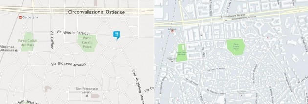 "Mappa di Roma senza ""building footprints"" (a sinistra) e con ""building footprints"" (a destra)."
