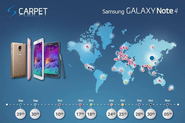 Samsung Galaxy Note 4, lancio in diversi Paesi globali