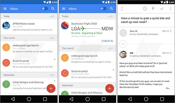 Screenshot per l'interfaccia di Google Bigtop su smartphone