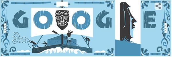 Il Google doodle di oggi dedicato all'antropologo, esploratore, regista e scrittore norvegese Thor Heyerdahl