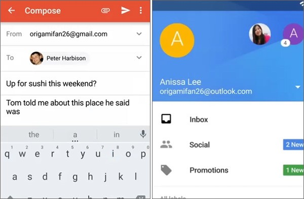 Screenshot per l'interfaccia dell'applicazione Gmail 5.0 su smartphone Android