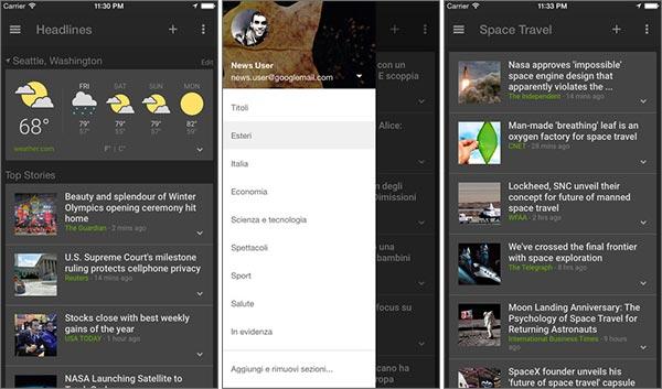 Screenshot per l'interfaccia dell'applicazione Google Notizie e Meteo su iPhone