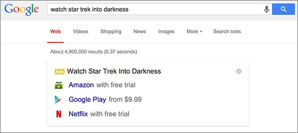 Il box per l'acquisto o il noleggio legale dei contenuti multimediali, visualizzato nelle SERP di Google