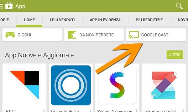 La sezione Chromecast del Play Store è stata rinominata in Google Cast