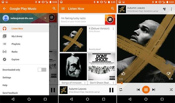 Screenshot per l'applicazione Google Play Music aggiornata con l'introduzione del Material Design