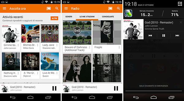 Screenshot per la nuova interfaccia dell'applicazione Google Play Music su smartphone Android