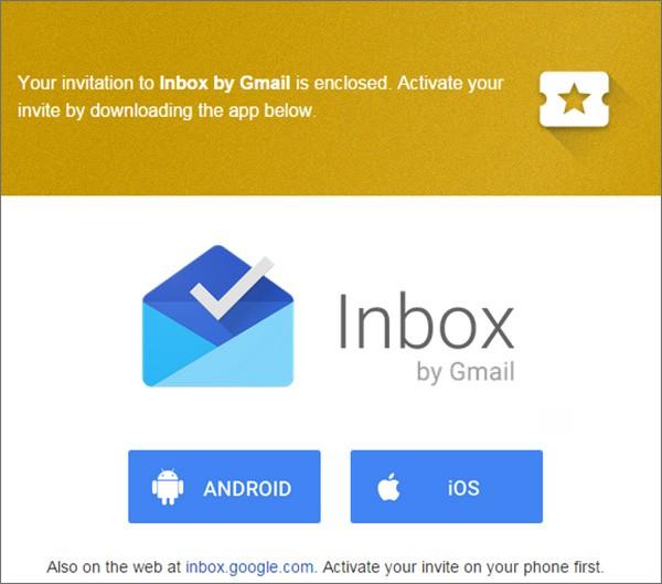L'invito per provare la nuova casella di posta Inbox