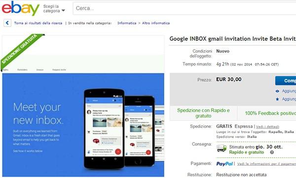 Uno degli inviti per la nuova casella Inbox di Google in vendita su eBay