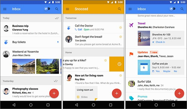 Screenshot per la versione Android dell'app Inbox