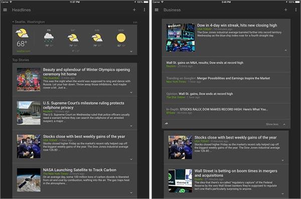 Screenshot per l'interfaccia dell'applicazione Google Notizie e Meteo su iPad