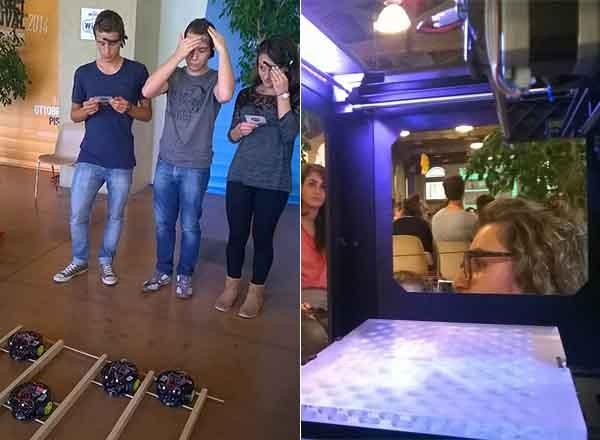 Alcuni studenti partecipano a una corsa molto particolare: vince che arriva primo col proprio robot guidato dalla mente, tramite un sensore di impulsi elettrici . A destra, la lezione sulla stampa 3D, vista dall'interno della macchina.