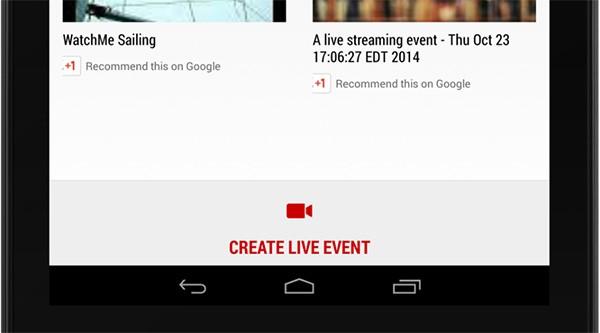 Il pulsante per creare uno streaming live con YouTube WatchMe all'interno delle applicazioni Android