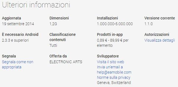Anche la versione Web dello store Google Play visualizza il prezzo degli acquisti in-app e l'indirizzo degli sviluppatori