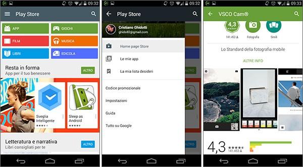 Screenshot per l'interfaccia dell'applicazione Play Store 5.0 su smartphone Android
