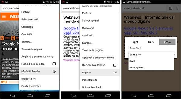 Screenshot per la nuova modalità Reader introdotta da Google con la versione 39 del browser Chrome Beta su Android