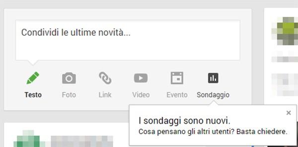 La nuova icona per la creazione dei sondaggi su Google+