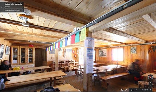 L'interno del Rifugio Regina Margherita fotografato dal team di Street View