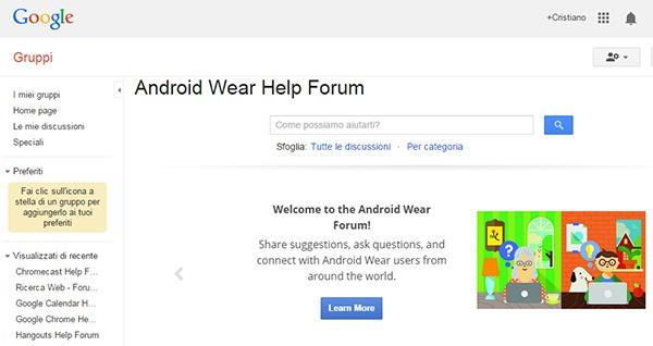 Il forum ufficiale di Android Wear