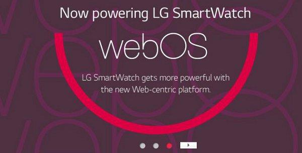 webOS su smartwatch LG, una diapositiva apparsa sul sito web dell'azienda