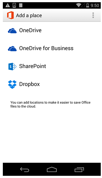 Dropbox in Office Mobile per Android