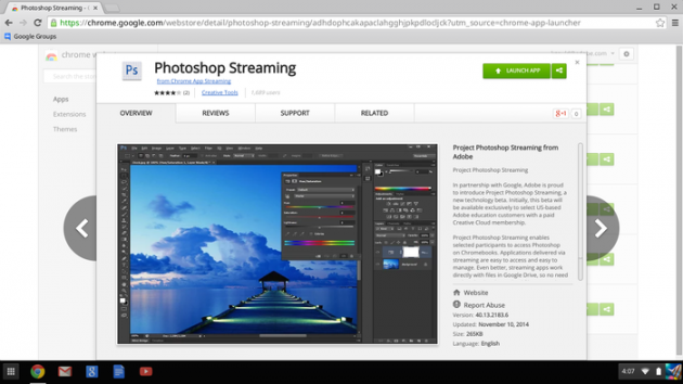 Photoshop Streaming sul Chrome Web Store.