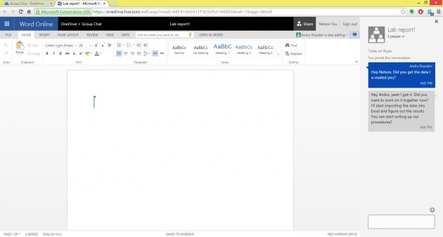 Skype in Office Online