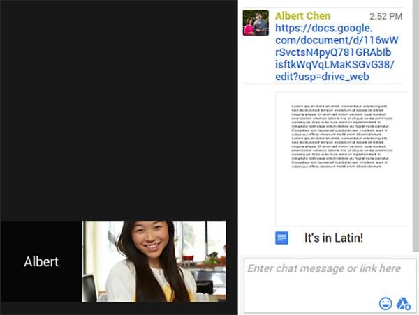 La condivisione dei file salvati su Google Drive all'interno di Hangouts avviene ora direttamente dall'interfaccia della chat
