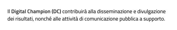 Questa è l'unica definizione di Digital Champion nel più recente dossier del governo sull'agenda digitale, a pagina 36 nel quarto capitolo dedicato all'organizzazione.