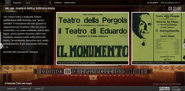 La mostra digitale permanente dedicata ad Eduardo De Filippo e al Teatro della Pergola su Google Street View