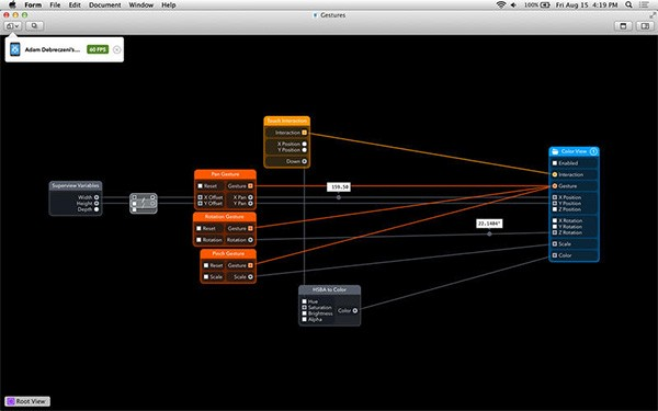 Screenshot per l'interfaccia di Form su computer OS X