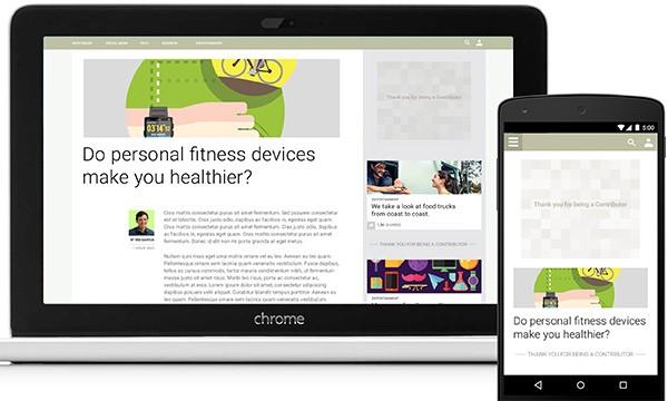 Esempio di un sito Web che aderisce al programma Google Contributor