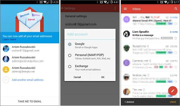 Screenshot per l'interfaccia dell'applicazione Gmail 5.0 su smartphone Android