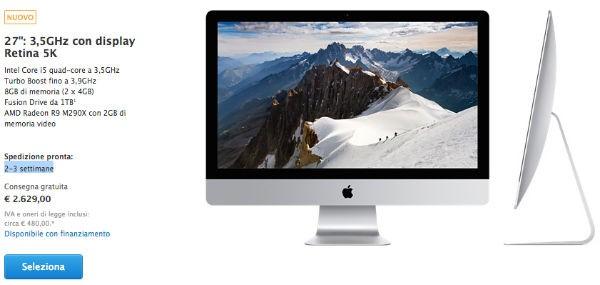 iMac 5K tempi di consegna