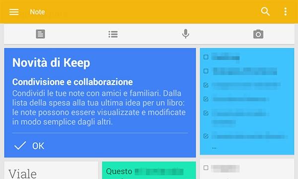 L'ultimo update di Google Keep permette di condividere le note con amici e familiari