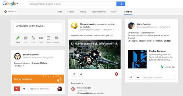 La scheda Menzioni introdotta oggi sulla versione Web del social network Google+