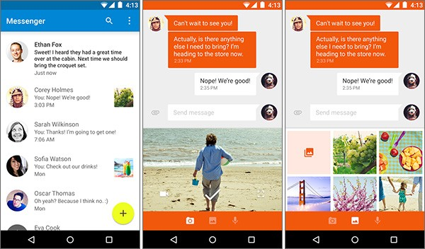 Screenshot per l'interfaccia dell'applicazione Messenger lanciata oggi da Google sui dispositivi Android