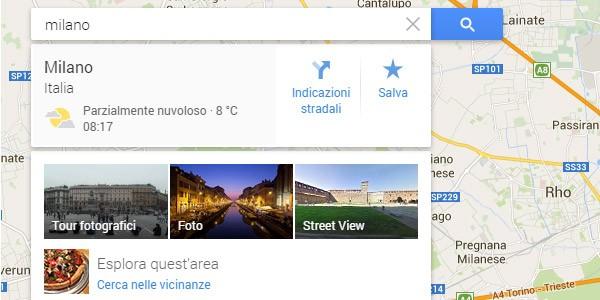 Le condizioni meteo di Milano mostrate in Google Maps