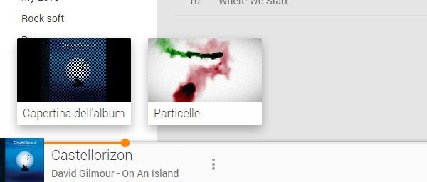 """Il pulsante per attivare il visualizzatore """"Particelle"""" nell'interfaccia di Google Play Music"""